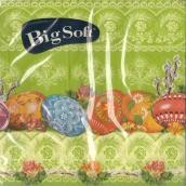 Big Soft Velikonoční papírové ubrousky vajíčka ornamenty tmavě zelené 33 x 33 cm 20 kusů