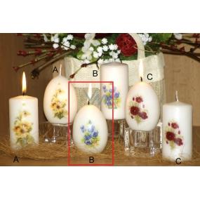 Lima Vůně Květin Fialka vonná svíčka bílá s obtiskem vajíčko 60 x 90 mm 1 kus