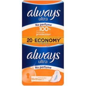 Always Ultra Normal Plus No Perfume neparfémované hygienické vložky s křidélky 20 kusů