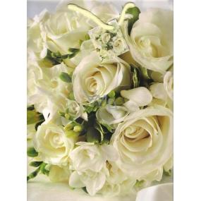 Nekupto Dárková papírová taška střední 966 02 BL bílé růže 32,5 x 26 x 13 cm