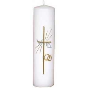 Lima Reliéf Křížek a prstýnky oltářní svíčka bílá válec 60 x 220 mm