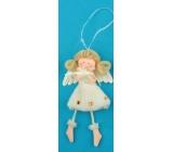 Anděl plyšový smetanový s nožkama na zavěšení hvězda 14 cm
