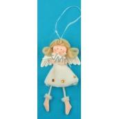 Anděl plyšový smetanový s nožkama hvězda na zavěšení 14 cm
