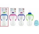 First Steps Feeding Bottle kojenecká lahev 0+ čirá s úchopy modré barvy 250 ml