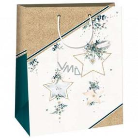 Ditipo Dárková papírová taška 32,4 x 10,2 x 44,5 cm zlaté hvězdy DXA
