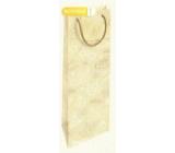 Nekupto Dárková papírová taška na láhev 33 x 10 x 9 cm Vánoční zlatá s potiskem WLH