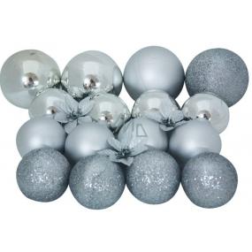 Baňky stříbrné mix povrchů a velikostí 20ks