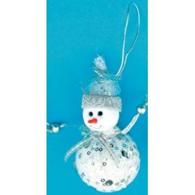 Sněhulák bílý se stříbrnými flitry na zavěšení 10 cm