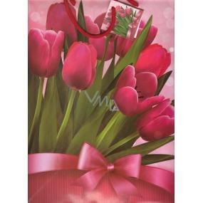Nekupto Dárková papírová taška velká 32,5 x 26 x 13 cm růžové tulipány 1 kus 1126 30 KFL