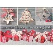 Nekupto Pohlednice s glitrem Vánoční vzor 1 Radostné Vánoce 15 x 11 cm