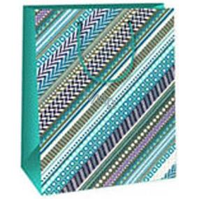Ditipo Dárková papírová taška 18 x 10 x 22,7 cm modro šedá