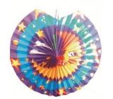 Lampion modrofialový s měsícem 30 cm