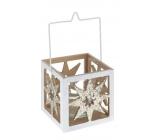 Svícen na čajovou svíčku dřevo, sklo Hvězda bílý 90 mm