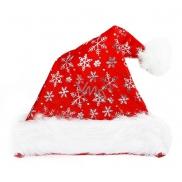 Čepice vánoční stříbrné vločky 40 cm