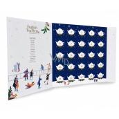 English Tea Shop Bio Vánoční noc Adventní kalendář ve tvaru knihy modrý, 25 kusů pyramidek sypaných čajů, 13 příchutí, dárková sada