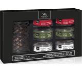 WoodWick Deluxe Frasier Fir - Jedle + White Teak - Bílý teak + Crimson Berries - Červená jeřabina vonná svíčka s dřevěným knotem petite 6 x 31 g + svícen, dárková sada