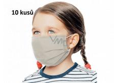 Rouška 3 vrstvá ochranná zdravotní netkaná jednorázová, nízký dýchací odpor pro děti 10 kusů béžová bez potisku