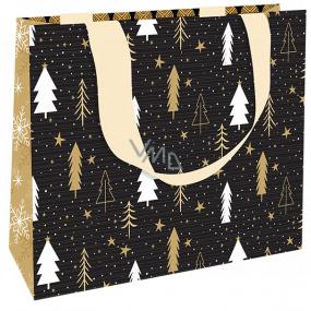 Nekupto Dárková papírová taška luxusní 23 x 18 cm Vánoční černá se stromečky WLFM 1992