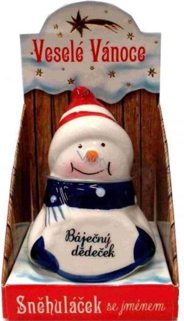 Sněhuláček s věnováním Báječný dědeček vánoční dekorace rozměr 8 cm