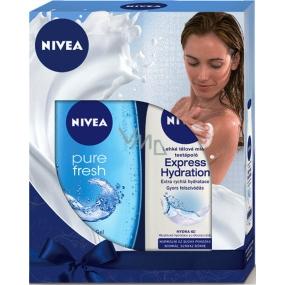 Nivea Express Hydration lehké tělové mléko pro normální až suchou pokožku 250 ml + Pure Fresh sprchový gel 250 ml,pro ženy kosmetická sada