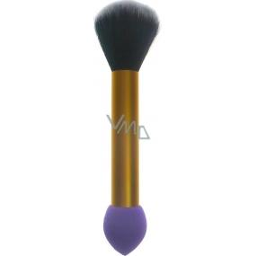 Jiajun Kosmetický štětec s pěnovou houbičkou oboustranný 30450 zlato-fialový 16 cm