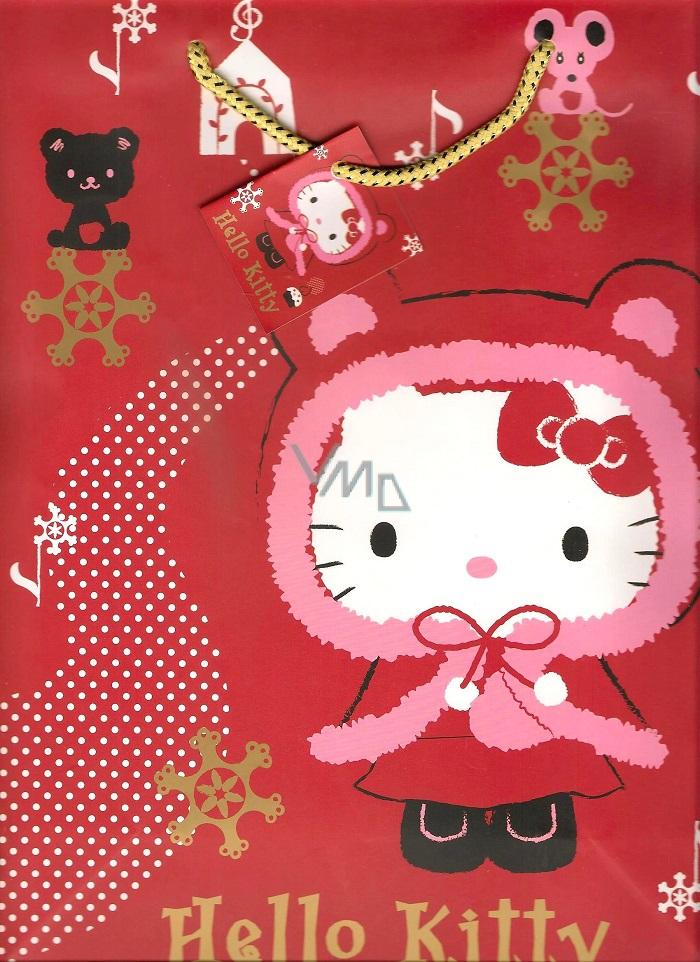 Nekupto Dárková papírová taška střední 23 x 18 x 10 cm Hello Kitty vánoční 1192 WLGM