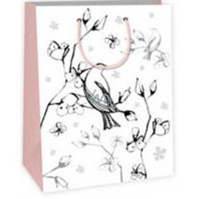 Ditipo Dárková papírová taška k vymalování 22 x 10 x 29 cm bílá ptáček květy Kreativ 40