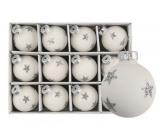 Sada skleněných baněk bílých s hvězdou 3cm, 12k