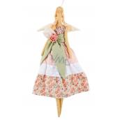 Andělka látková růžová se zelenkavou mašlí 47 cm