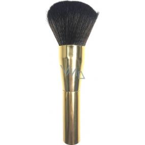 Kosmetický štětec na pudr zlatá rukojeť tmavě hnědý vlas 15,5 cm 066