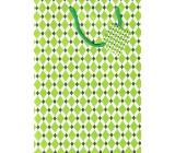 Nekupto Dárková papírová taška velká 32,5 x 26 x 13 cm Zelená, kosočtverce 1661 50 KFL