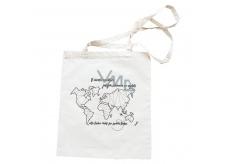Bohemia Gifts & Cosmetics Plátěná taška s potisem Mapa světa 42 x 38 cm