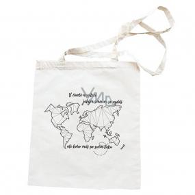 Bohemia Gifts Plátěná taška s potisem Mapa světa 42 x 38 cm