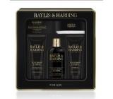 Baylis & Harding Černý pepř a Ženšen 2v1 šampon a sprchový gel 300 ml + toaletní mýdlo 150 g + sprchový gel 130 ml + balzám po holení 130 ml + pleťová žínka, kosmetická sada pro muže