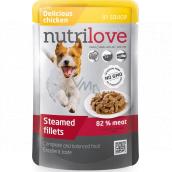 Nutrilove Dušené filetky se šťavnatým kuřecím v omáčce kompletní krmivo pro psy kapsička 85 g