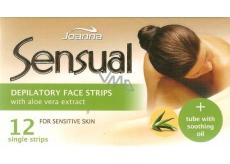 Joanna Sensual Aloe Vera depilační náplasti na obličej 12 kusů a jemný olej 10 ml