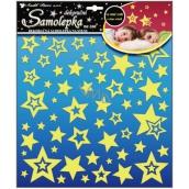 Room Decor Samolepky na zeď hvězdičky s glitry svítící ve tmě 31 x 29 cm