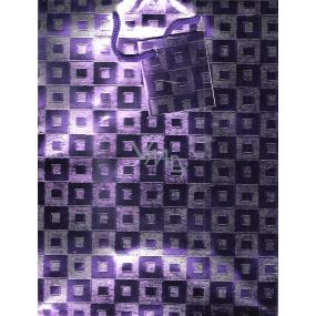 Nekupto Dárková papírová taška střední 001 36 GM fialová se čtverečky 23 x 18 x 10 cm