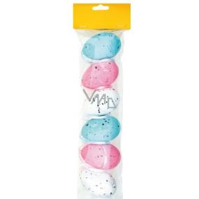 Vajíčka polystyrénová na zavěšení růžové, modré, bílé, prskaný dekor 6 cm v sáčku 6 kusů