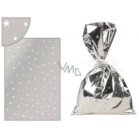 Anděl Sáček stříbrný s bílými hvězdičkami 16 x 25 cm