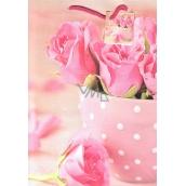 Nekupto Dárková papírová taška velká 32,5 x 26 x 13 cm Růžové růže 1756 30 KFL