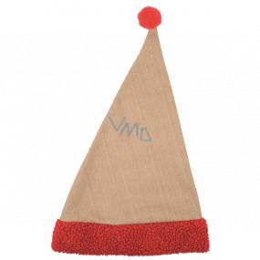 Mikulášská čepice jutová s červeným lemem 47 cm