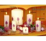 Lima Květina Levandule vonná svíčka světle fialová s obtiskem levandule válec 50 x 100 mm 1 kus