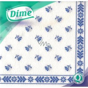 Dime Papírové ubrousky modrý potisk 1 vrstvé 30 x 30 cm 45 kusů