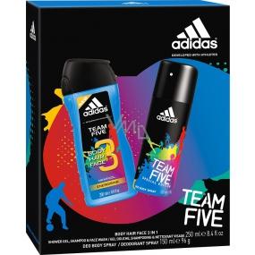 Adidas Team Five deodorant sprej pro muže 150 ml + sprchový gel 250 ml, kosmetická sada