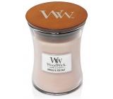 WoodWick Vanilla Sol - Vanilka a mořská sůl vonná svíčka s dřevěným knotem a víčkem sklo střední 275 g