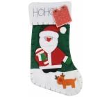 Mikuláš / Santa vánoční punčocha Noel - zelená 45 x 26 cm