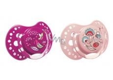 Lovi Folky Šidítko silikonové dynamické dívčí pro děti 3-6 měsíců 2 kusy
