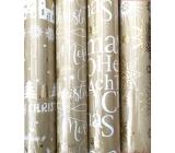 Zöllner Vánoční Luxusní balicí papír s ražbou Urban zlatý - vločky zlaté a bílé 1,5 m x 70 cm