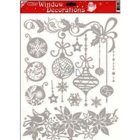 Okenní fólie bez lepidla se stříbrnými glitry vánoční růže 42 x 30 cm